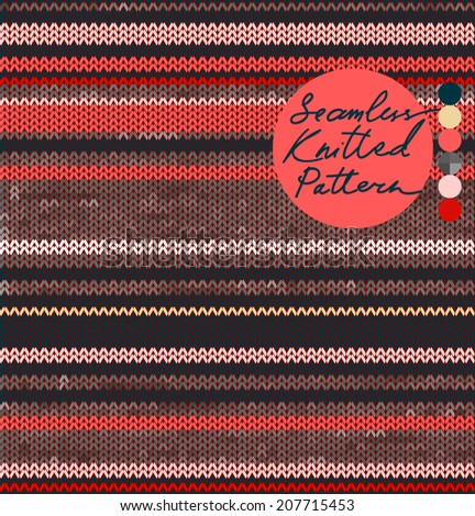 Striped Knit Seamless Pattern with Warm Colors, Scandinavian Style. vector illustration - stock vector