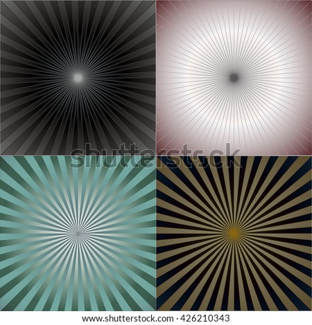 Striped retro background with radiating rays. Burst vector background, retro background design. - stock vector