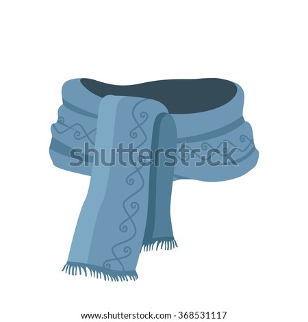 Striped scarf isolated icon. Striped scarf isolated on white. Striped scarf. Scarves icon. Scarf icon. Winter scarf. Cartoon striped scarf. Vector illustration - stock vector