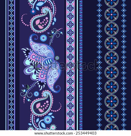Striped seamless paisley pattern - stock vector