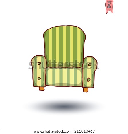 striped sofa isolated, Hand drawn sketch illustration - stock vector