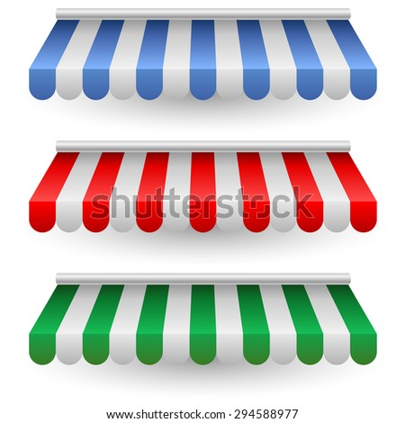 Striped street shop tent vector template isolated on white background. - stock vector