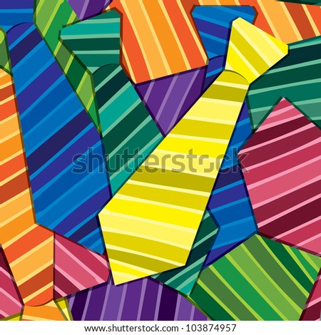 Striped tie sticker card/background in vector format. - stock vector