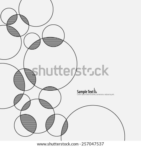 Stripes and Lines Overlapping Circles Background - stock vector