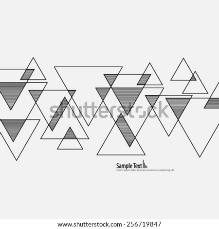 Stripes and  Lines Overlapping Triangles Background - stock vector