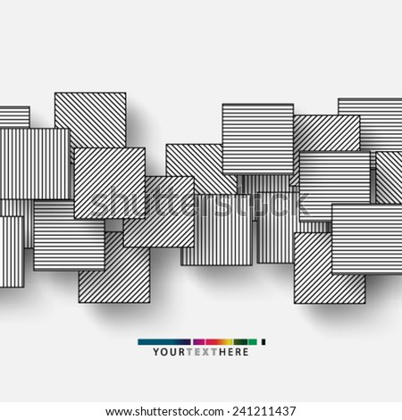 Stripes Lines Overlapping Squares Background - stock vector