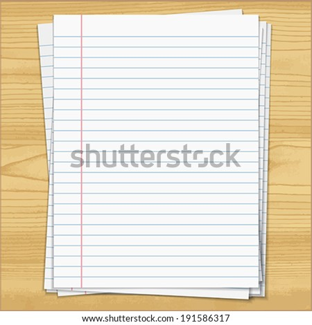Strips notebook papers on wood background.    Vector illustration.  - stock vector