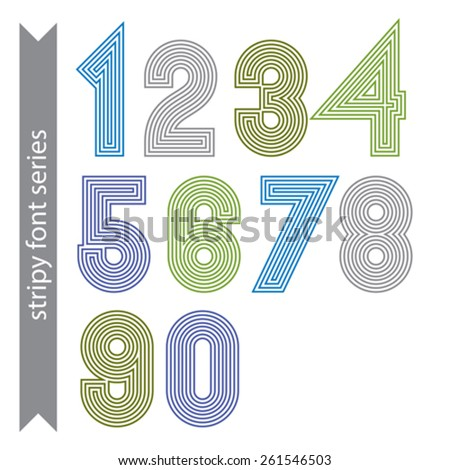 Stripy geometric numbers made with parallel straight lines. Light graphic vector stylish numeration, bright digit sequence. - stock vector