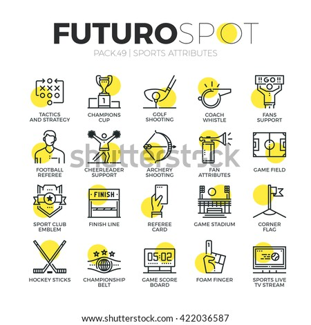Stroke line icons set of club fans support, sport team emblem and awards. Modern flat linear pictogram concept. Premium quality outline symbol collection. Simple vector material design of web graphics - stock vector