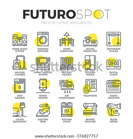 Stroke line icons set of household appliances, consumer electronics. Modern flat linear pictogram concept. Premium quality outline symbol collection. Simple vector material design of web graphics. - stock vector