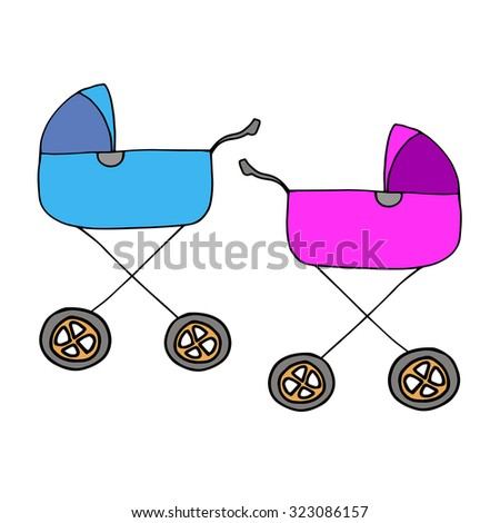 stroller baby illustration vector carriage child icon kid pram childhood silhouette toddler born infant - stock vector