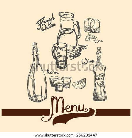 strong alcoholic drink. Beverage sketch hand drawn set with hand written names: fresh water, rum bottle, wine glass bottle, tea bags, lemon and glass tea cup. Vector illustration. - stock vector