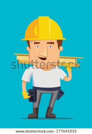 Strong construction worker building and golding iron bar on a real estate vector illustration - stock vector