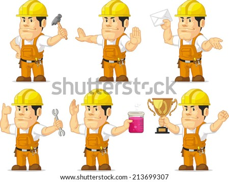 Strong Construction Worker Mascot 3 - stock vector