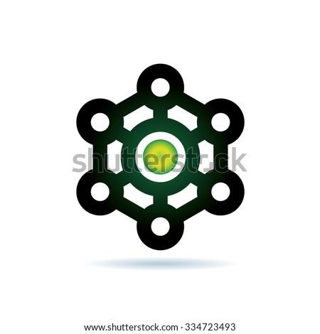 Strong Core Network Icon Vector Logo Template - stock vector