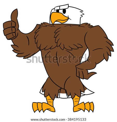 Strong eagle thumb up gesture - stock vector