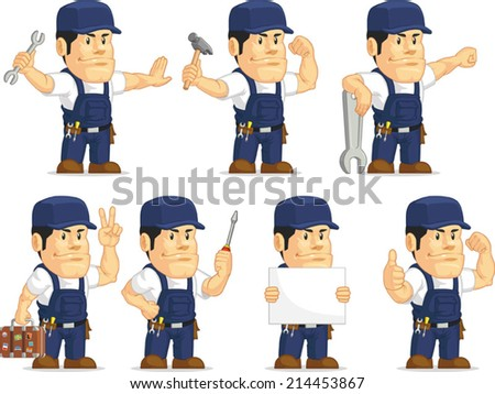 Strong Mechanic Mascot - stock vector