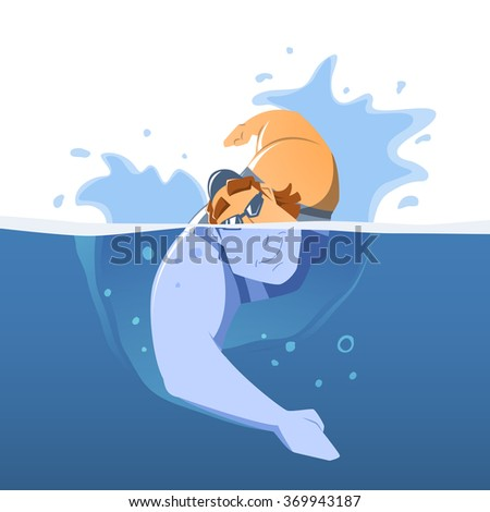 Strong muscular handsome young man professional swimmer in swimming pool. Front face view. Isolated color vector illustration. - stock vector