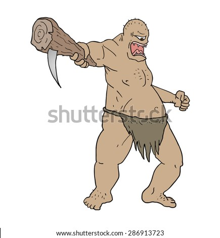strong ogre draw - stock vector
