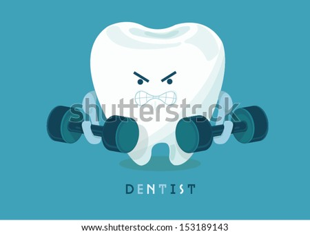 strong tooth - stock vector