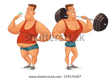 Strongman shakes biceps, lifting large barbell. Fat man eating ice cream. Comparative analysis of lifestyle. Useful and harmful habits. Funny cartoon character. Vector illustration. - stock vector