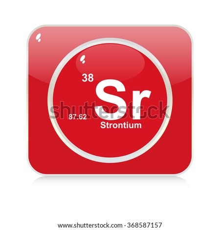 strontium chemical element button - stock vector
