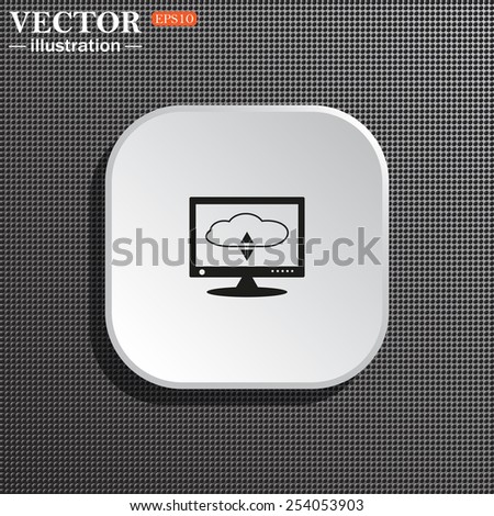 Structural gray background with shadow, white square. cloud storage on the computer, vector illustration, EPS 10 - stock vector
