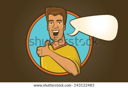 Stubble faced male talking with speech bubble/Young Hip Man with Thumbs Up Vector - stock vector