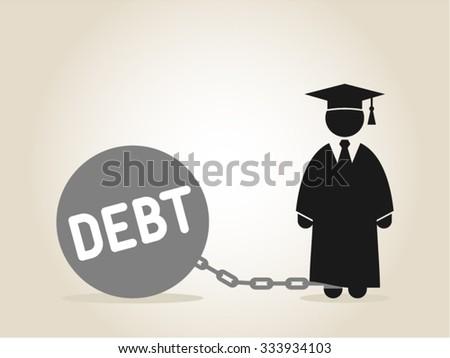 Student Debt  Education Scholarship College Career - stock vector