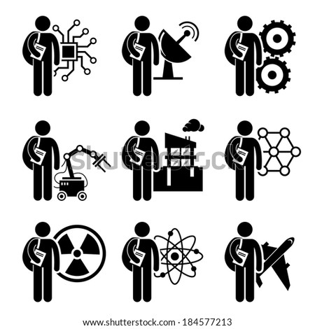 Student Degree in Engineering Stick Figure Pictogram Icon - stock vector