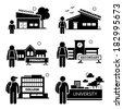 Student Education Level - Preschool, Kindergarten, Primary School, Secondary, College, University - Stick Figure Pictogram Icon Clipart - stock vector