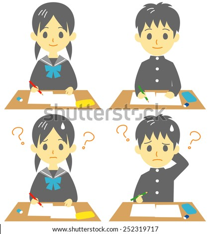 student?in class, exam, troubled face - stock vector