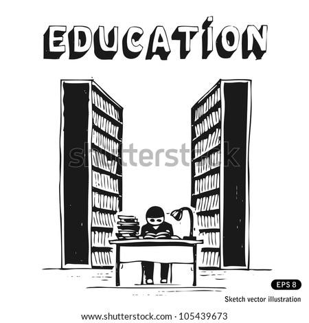 Student in the library. Hand drawn sketch illustration isolated on white background - stock vector