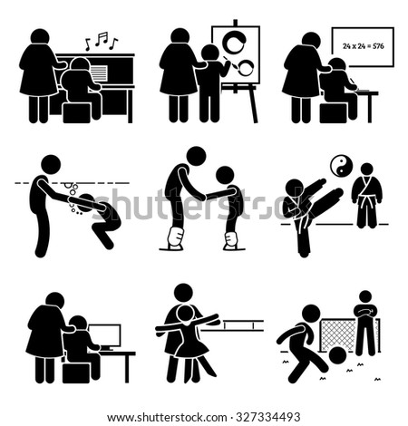 Student Learning Music, Art, Academic, Swimming, Martial Arts, Football, Computer, Dancing, and Ice Skating Lesson from Mentor Pictogram - stock vector