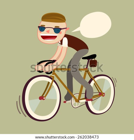 student riding bike to university. fixie bike rider. vector character isolated - stock vector