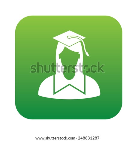Student symbol design on green button,clean vector - stock vector