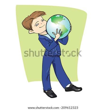 student with the globe, back to school, the vector drawing by hand - stock vector