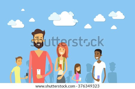 Students Group With Smart Cell Phone Social Network Communication Concept Vector Illustration - stock vector