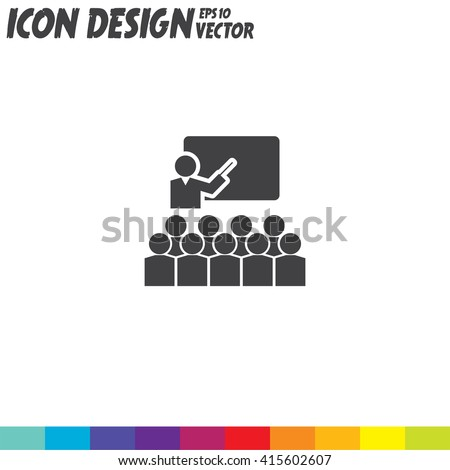 Students in Classroom vector icon - stock vector