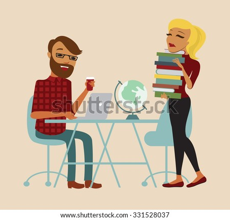 Students sitting at a table while learning and working on a laptop with books - stock vector