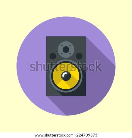 Studio audio monitor icon. Yellow speakers. Flat design long shadow. Vector illustration. - stock vector