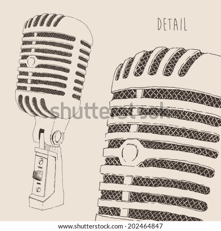 studio microphone (high detail) vintage illustration, engraved retro style, hand drawn, sketch - stock vector