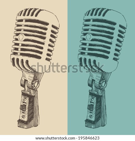 studio microphone vintage illustration, engraved retro style, hand drawn, sketch - stock vector