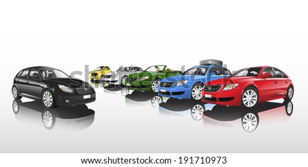 Studio shot vector of group of multi-colored cars in a row. - stock vector