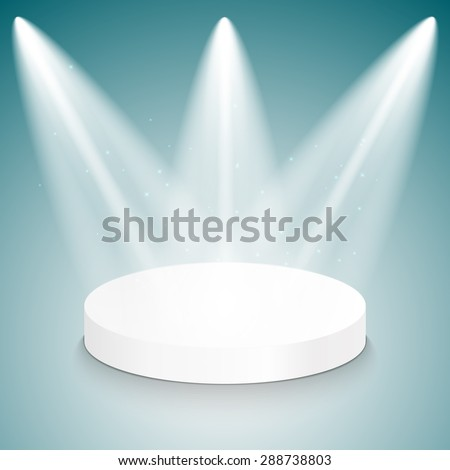 Studio with a podium and spotlights. Vector illustration. - stock vector