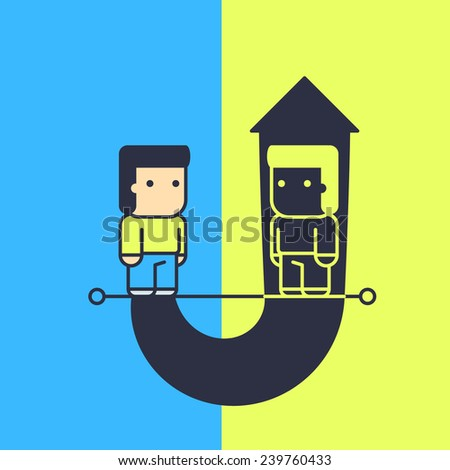 study of their own weaknesses and habits. Conceptual illustration. - stock vector