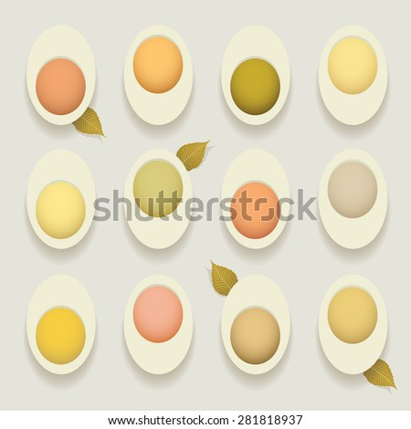 stuffed deviled hard cooked eggs recipes concept vector illustration with eggs cut in half and filled with colorful pastry isolated on white background - stock vector