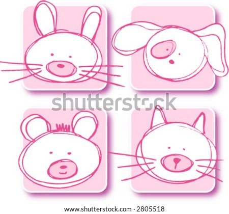 stuffed toy animals for baby celebration - pink - stock vector