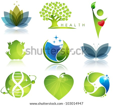 Stunning health-care and ecology symbols. Beautiful harmonic colors. - stock vector