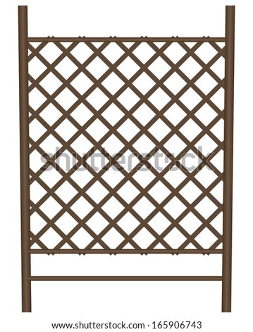 Style garden fence in the form of a lattice of bamboo. Vector illustration. - stock vector